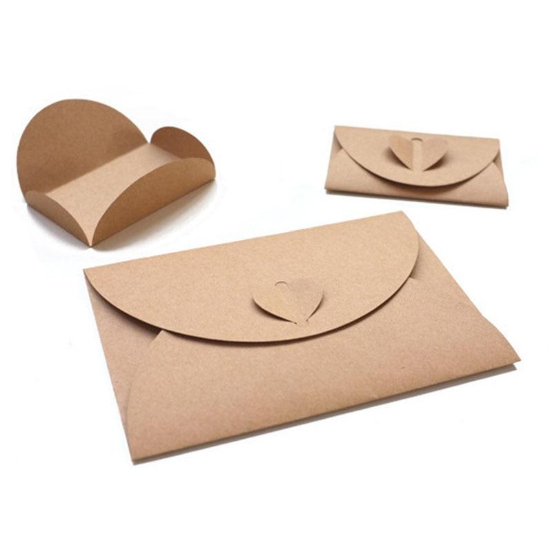 3pcs Love Envelope Simple Paper Envelope Post Card Kraft Airmail Classic Creative Office Stationery Gift CD Letter Fold Envelope