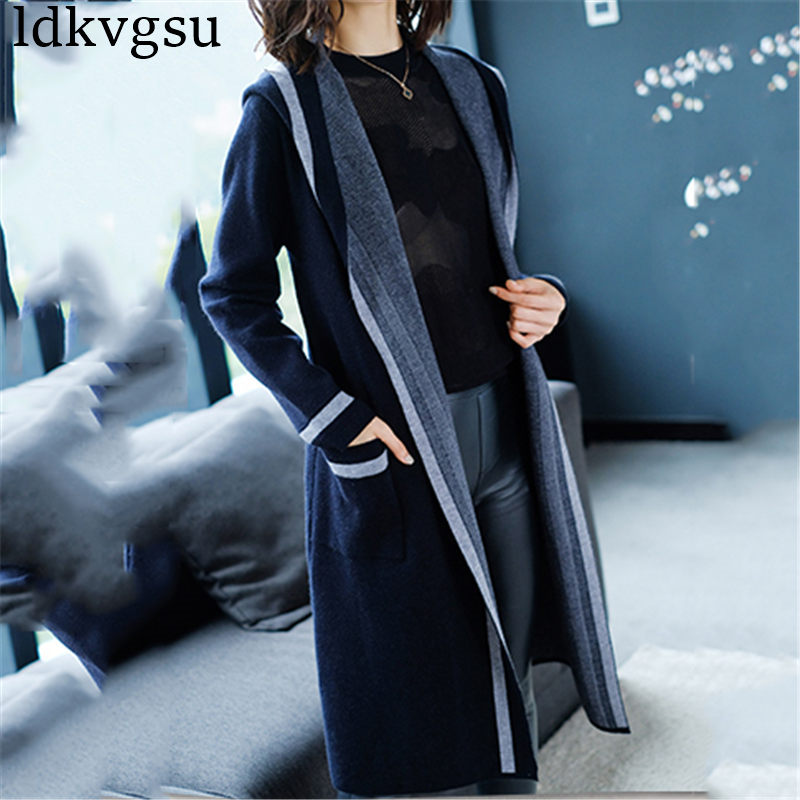 2018 Fashion Large Size 5XL Women's Spring Autumn Long Knit Cardigan Sweater Casual Hooded Loose Trench Coats Female A1356