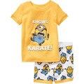 2017 Niños del Verano Que Arropan Muchachas de Los Bebés Traje de Conjuntos de Dibujos Animados de Algodón de Dibujos Animados t-shirt + Shorts Casuales amarillo
