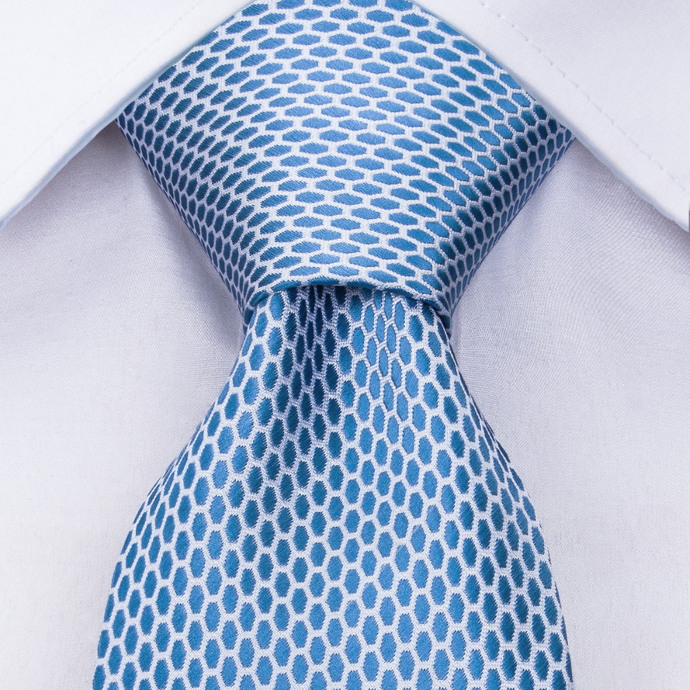 DiBanGu Sky Blue Tie Hot Sale Plaid Solid Necktie With Male Pocket Square Fashion Light Blue 8.5cm Width Ties Cravate MJ-1535