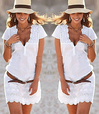 New Fashion Elegant Womens Lace Floral Short Sleeve Casual Evening Party Mini Dress