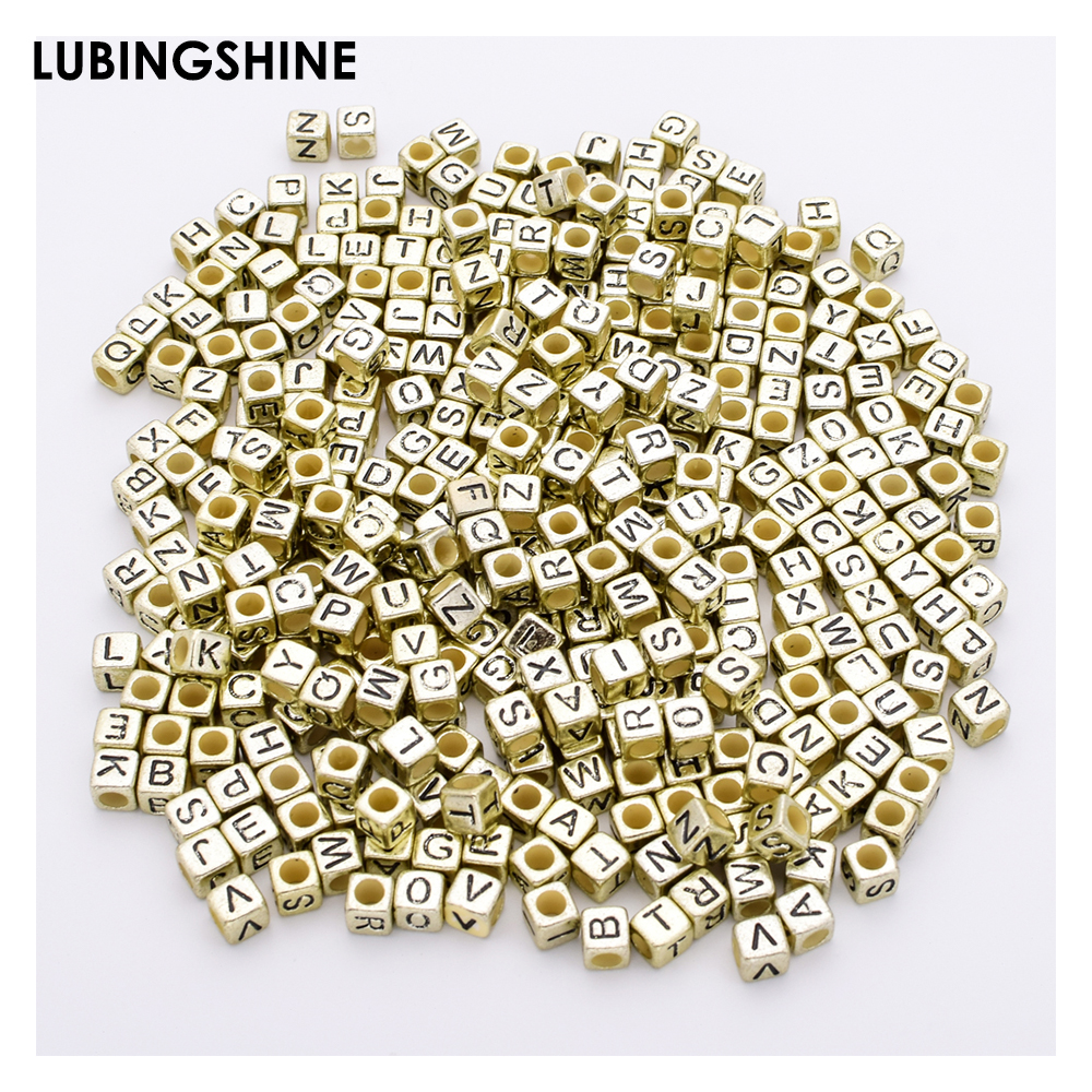200pcs Black Colorful Square English Letters Gold Silver Color Alphabet Acrylic Beads For Jewelry Making Diy Bracelets Supplies Beads