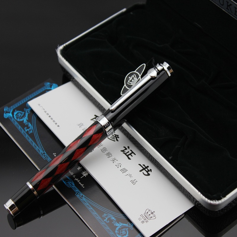 Duke Priest Series High Quality Metal Rollerball Pen Fashion Red Grid Ballpoint Pen with Original Case Gift Pens Free Shipping
