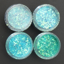 Set of 4 Boxes Blue Holographic Mix Glitter * 10gr Chunky Solvent Resistant Festival Face Nail Art Design, MA03#