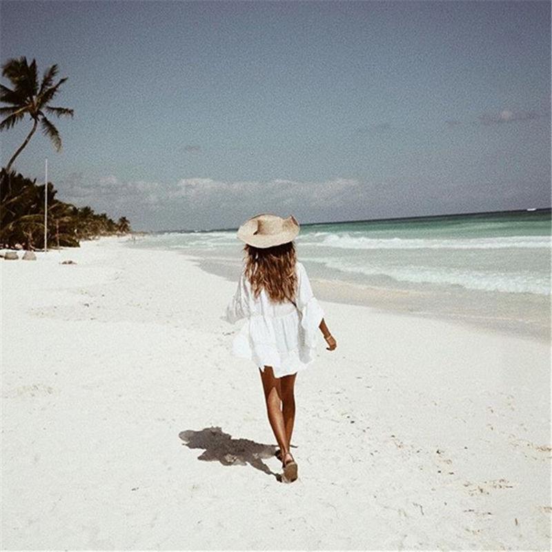 Women Swimsuit Cover Ups Mandarin Sleeve Kaftan Beach Tunic Dress Robe De Plage Solid White Cotton Pareo Beach Cover Up #Q429 2