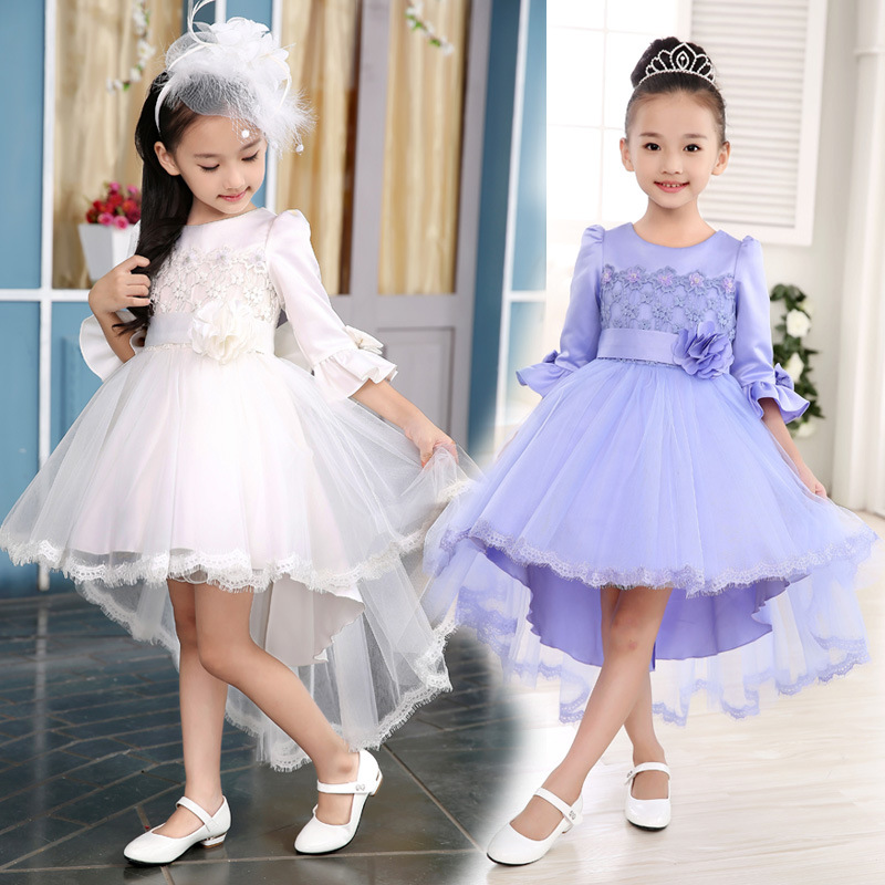 Princess Flower Girl Dress For Wedding Party High Quality Bridesmaid Kids Bow Autumn New Fashion Lace Tulle Trailing Dress