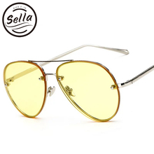 Fashion Retro Women Pilot Sunglasses Ocean Yellow Tint Lens Classic Rimless Eyewear Summer Trending