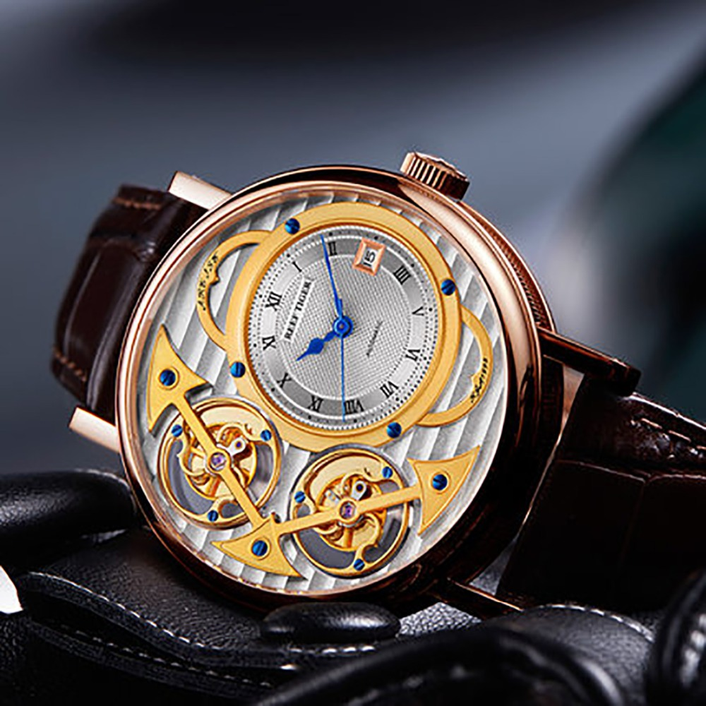 Reef Tiger/RT superior moda de lujo relojes de los hombres oro rosa correa de cuero automático esquelético relojes RGA1995 sin movimiento tourbillon