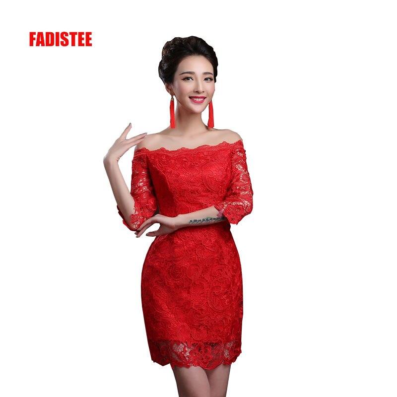 FADISTEE Hot sale   cocktail   party   Dresses   short Vestido de Festa mini sexy lace   dress   satin mini prom gown half sleeves 2018