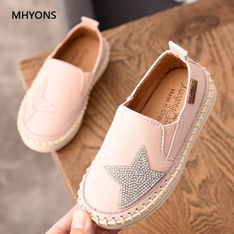 2018 New Shoes For Girls Children's Autumn Rhinestones Shoes Pentagram Sequins Princess Shoes Girl Lazy Sneakers Single Sneakers