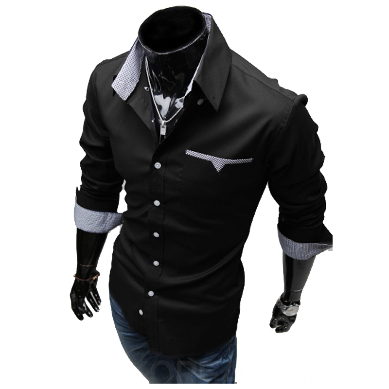 2018Fashion Solid Color Camisa Masculina Brand Clothing Men Shirt Casual Long Sleeved Chemise Homme Slim Camisas Large Size XXXL