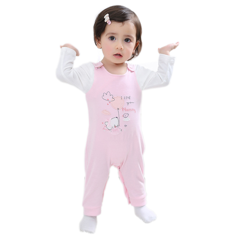 Brand New 2017 Infant Romper Baby Girls Jumpsuit Clothes New born Bebe Clothing Hooded Toddler Cute Stitch Free shipping
