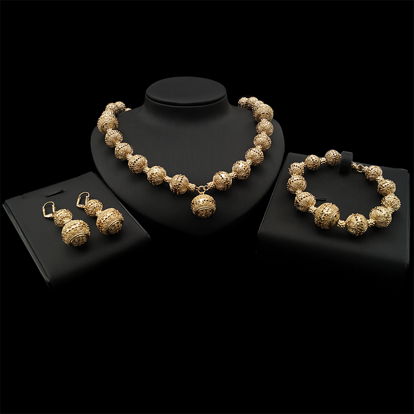 Yulaili classique populaire rond fleur motif collier Bracelet boucles d'oreilles Dubai or bijoux ensembles pour les femmes en anniversaire