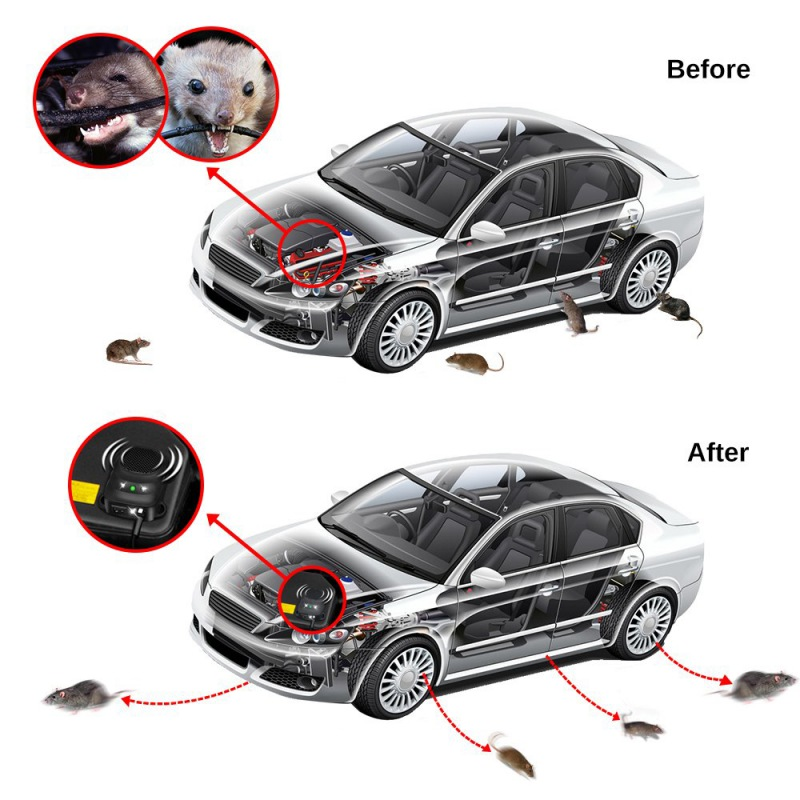 Non-Toxic Mouse Ultrasonic Car Rat Repellent Ultrasonic Mice Repellent For Car Hood Low Power Repeller Home Garden Pest Control