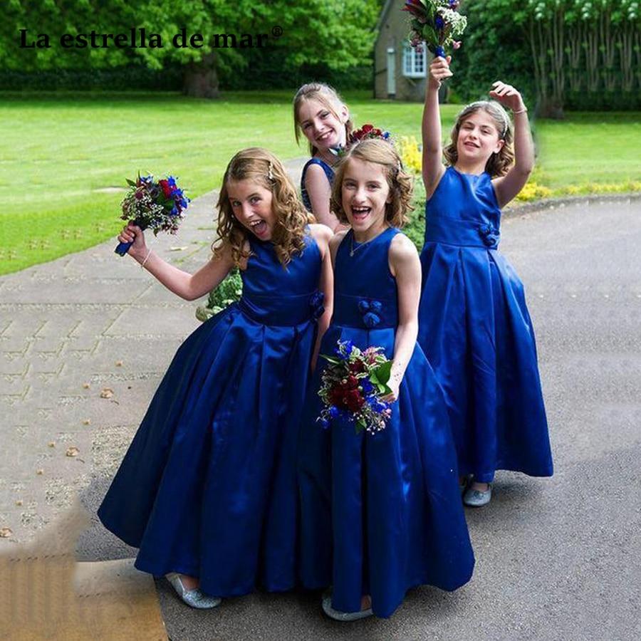 La estrella de mar   flower     girl     dresses   for weddings2018 new satin a line royal blue communion   dresses   long plus size