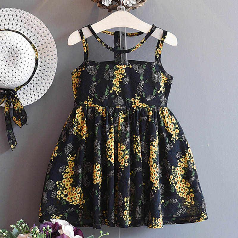 2019 الفتيات اللباس الصيف عارضة مخطط أكمام الأميرة اللباس طفلة الاطفال حزب اللباس ل 3-7 سنوات الأطفال