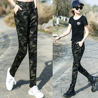 Camouflage pants female high waist elastic thin casual trousers pants military pants camouflage clothing