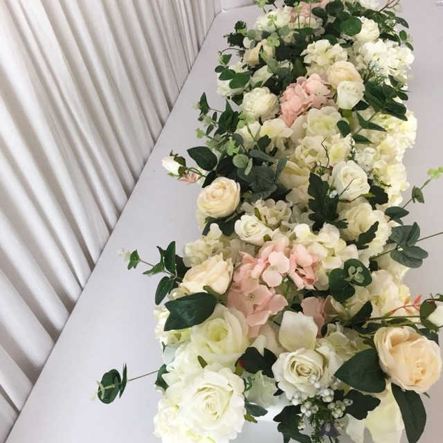 Wholesale Artificial Flower Table Centerpiece Wedding Stage Arch Table  Runner Pivilon Backdrop Flowers Wall Decoration