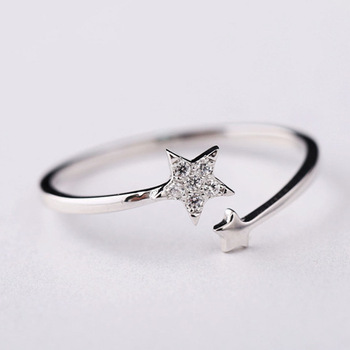 Hot Selling! 925 Sterling Silver Double Stars Rings for Women Girls Gift Fashion Jewelry Adjustable Free Size Ring vq30det エキマニ