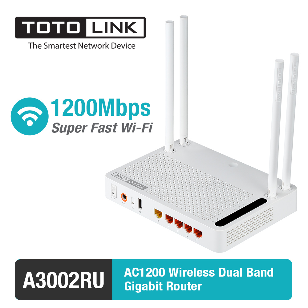 TOTOLINK Gigabit Router Dual-Band A3002RU AC1200 Wireless with Russia-Version Firmware