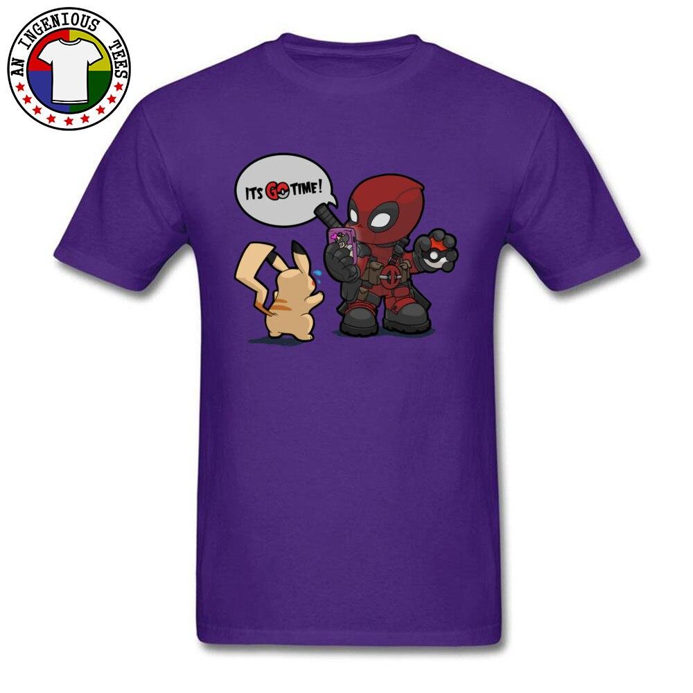 Tops & Tees Deadpool Pokemon GO time 1226 Summer Short Sleeve 100% Cotton Crewneck Man Top T-shirts Leisure Clothing Shirt Plain Deadpool Pokemon GO time 1226 purple