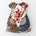 2016 Marca Niños Vestido Floral de La Vendimia Ventilador Plegable Flor Imprimir Una Línea de Vestido Lindo de la Princesa Al Por Mayor QU030