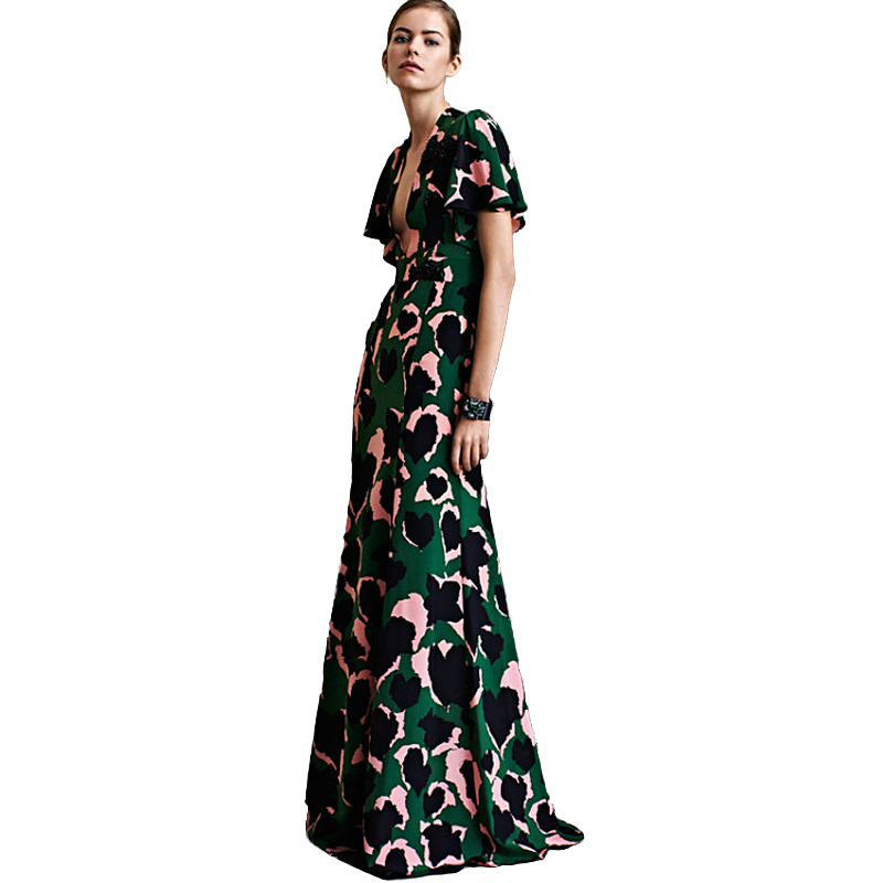 Sexy Dress New High Quality Runway 2018 Spring Summer WomenS Party Office Elegant Elegant Boho Beach Printing Maxi Long Dresses