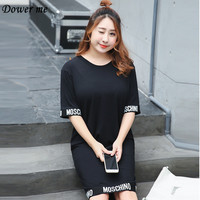 Plus Size Fashion Simple O Neck Women Dress Female Elegant Casual Letter Loose Slim Black Frocks
