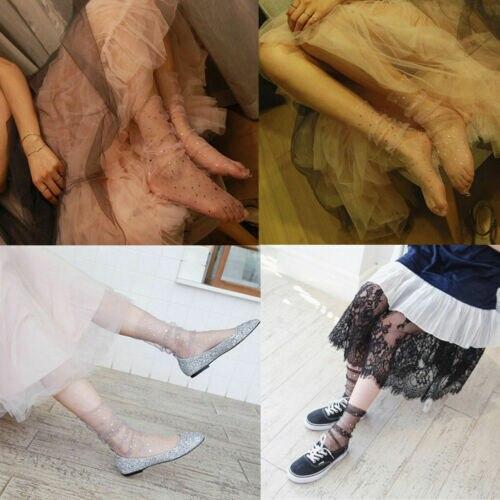 Fashion Women Girl Glitter Stars Mesh Socks Transparent Sheer Ankle SocksCostume