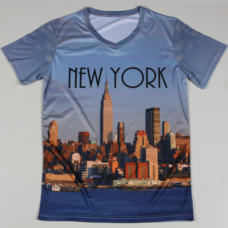 New York City 3d Man T Shirts Short Sleeve V Neck Unique