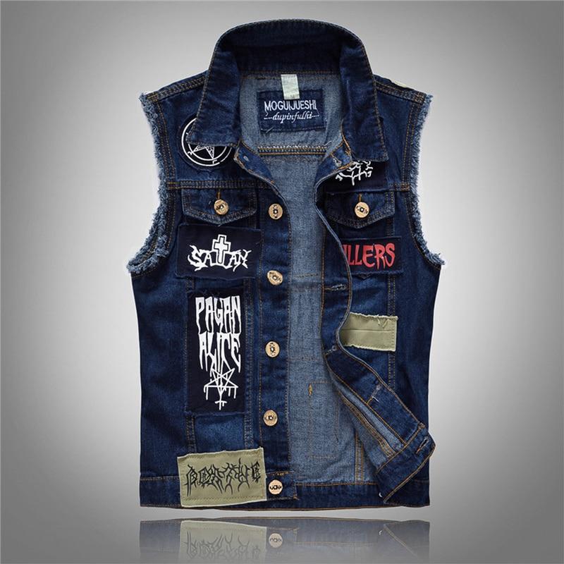 Yelek Erkek 2019 Men's Patches Design Jeans Vest Ripped Denim Waistcoat Men Denim Vest Man Sleeveless Jeans Vest Frayed Size 6XL