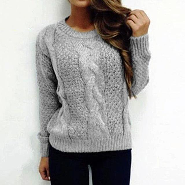 d9197fa7f587b7 Women Winter Tops Long Sleeve Knitted Thick Sweater O-Neck Knitting Pullover  Female Batwing Sleeve