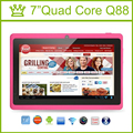 7 дюймов Tablet PC Quad Core Q88 ROM 8 ГБ 1024*600 pxl Allwinner A33 Android 4.4 Bluetooth Tablet Android 9 8 7