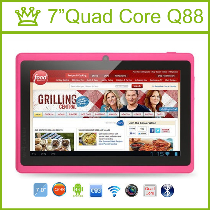 7 inch Tablet PC Quad Core Q88 ROM 8GB 1024*600 pxl Allwinner A33 Android 4.4 Bluetooth Tablet Android 9 8 7