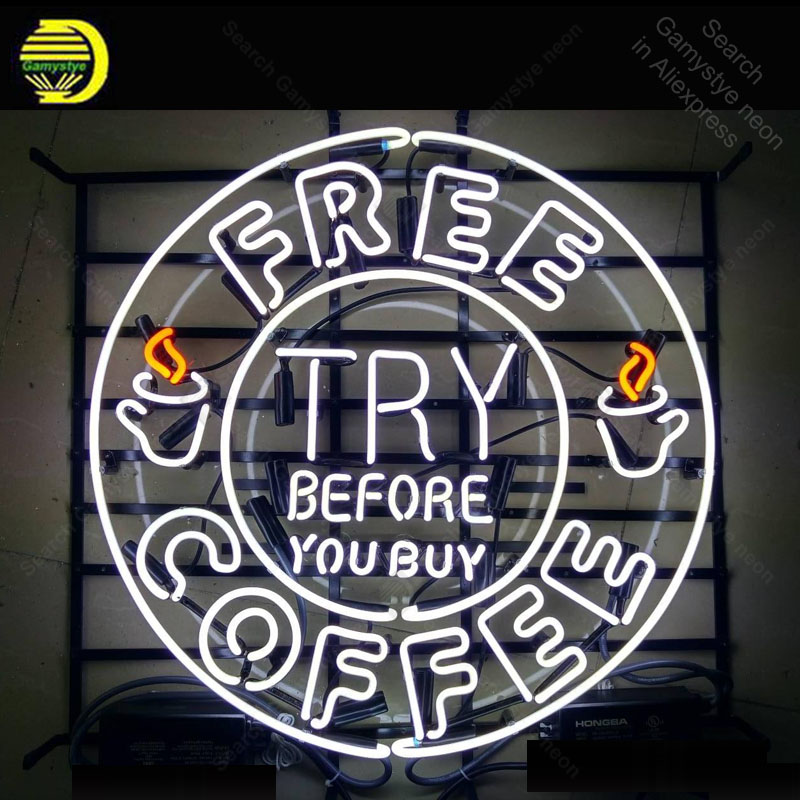 Us 179 25 Off Neon Sign For Free Coffee Bulbs Lamp India Try Before You Decor Restaurant Room Advertise Hotel Beer Bar Display In