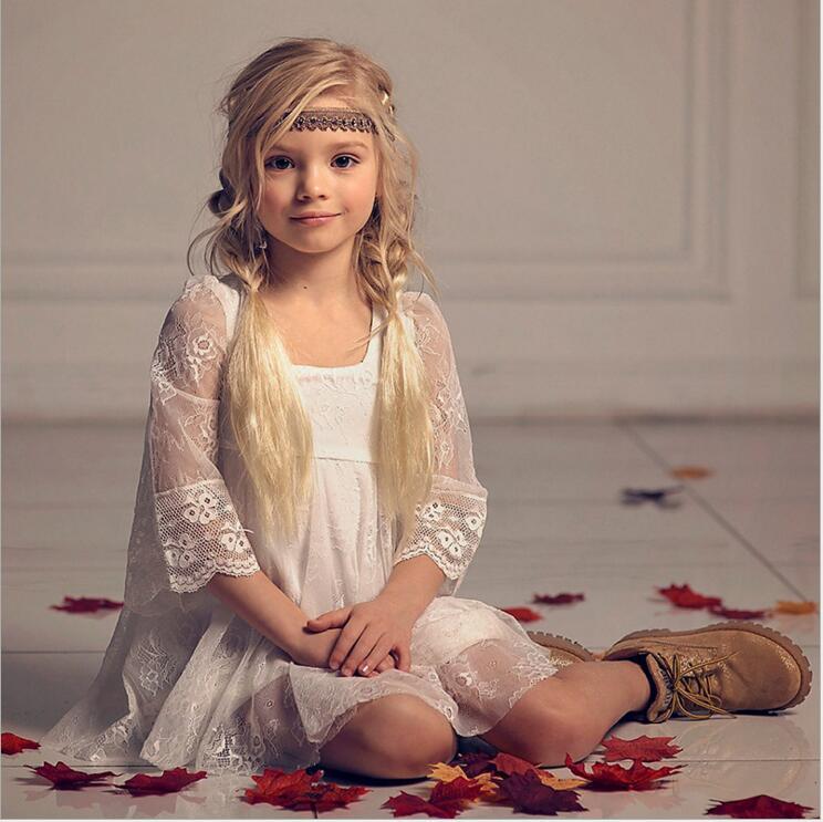 子供のウェディングドレスレース夏ボイル flare スリーブ妖精プリンセスドレス歳の女の子インファッション vestido パーティー  グループ上の ママ & キッズ からの ドレス の中 3