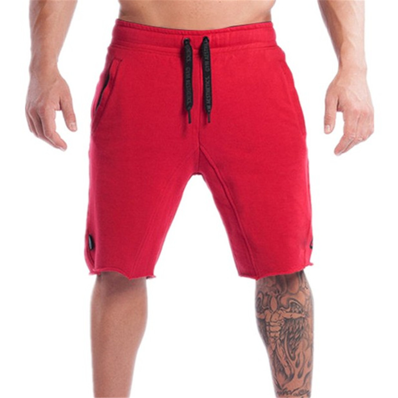 Summer New Cotton Men Shorts Calf-Length Gyms Fitness Casual Joggers Red Shorts Sportswear Bodybuilding Shorts Men