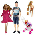 Girls Toys Family 4 People Dolls Suits 1 Mom/1 Dad/1 Little Kelly Girl/1 Baby Son/1 Baby Carriage for barbie,Real Pregnant Doll