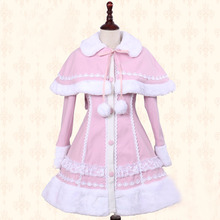 Lolita Woolen Coat Women Warm Winter Long Coat Pink Princess Sweet Outwear Cape Many Colors Custom-made