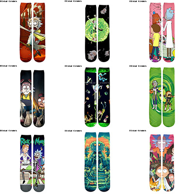 Plstar Cosmos Rick And Morty Socks Cartoon 3d Socks Men Women Funny 3D High Men Women High Quality Cartoon Socks Dropshopping-4