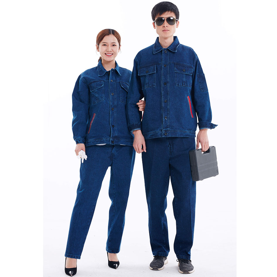 Men Work Clothing Sets Denim Jackets+Pants Welding Workers Repairman Factory Uniforms Unisex Long sleeve Cotton Working clothes