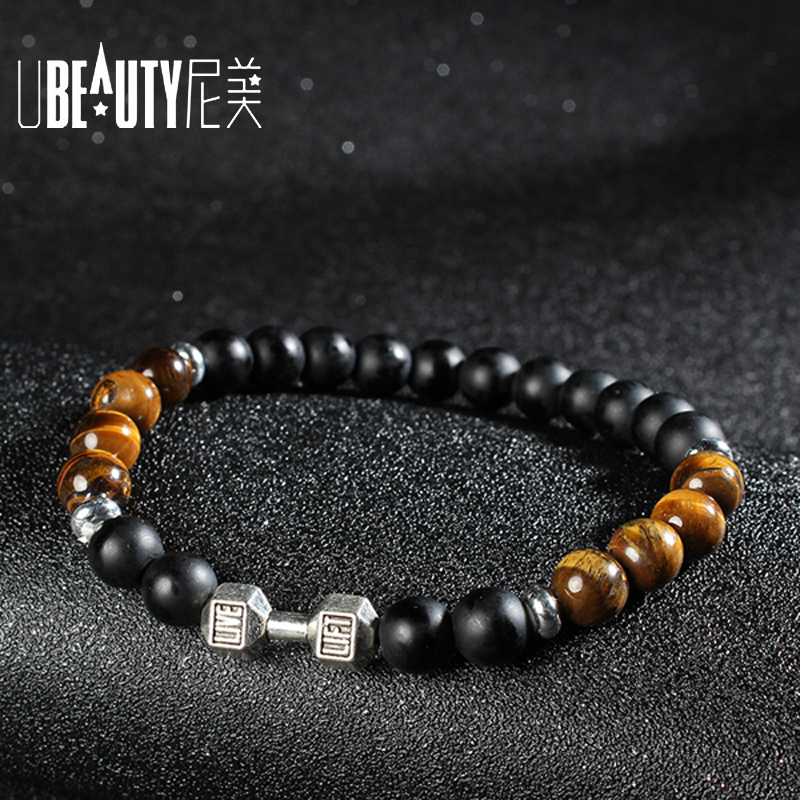 Fashion mens bracelets 2017 natural stone bracelet dumbbell matte black stone Beads boho Bracelet men mala beads Jewelry
