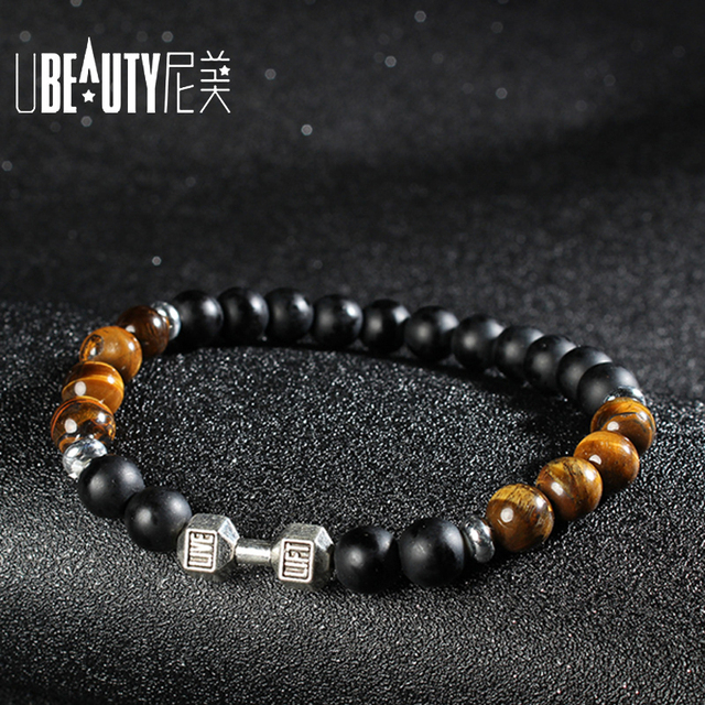 Fashion Mens Bracelets 2017 Natural Stone Bracelet Dumbbell Matte