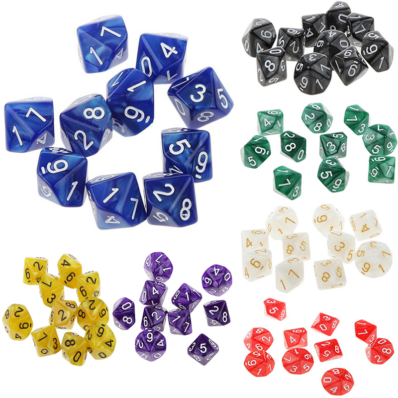 Mayitr Transparent 10Pcs D10 Ten Sided Pearl Gemmed Dices Die (0-9) ForRPG For DDG Set Of 10 Dice Playing Games(China)