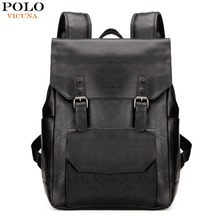 VICUNA POLO European & American Style Men Laptop Backpack PU Leather Backpack With Double Belt Waterproof Men mochila masculina