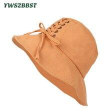 New Spring Summer Women Sun Hats with Tie Rope Fashion Men Cap Bucket Hat Wide Brim Fisherman