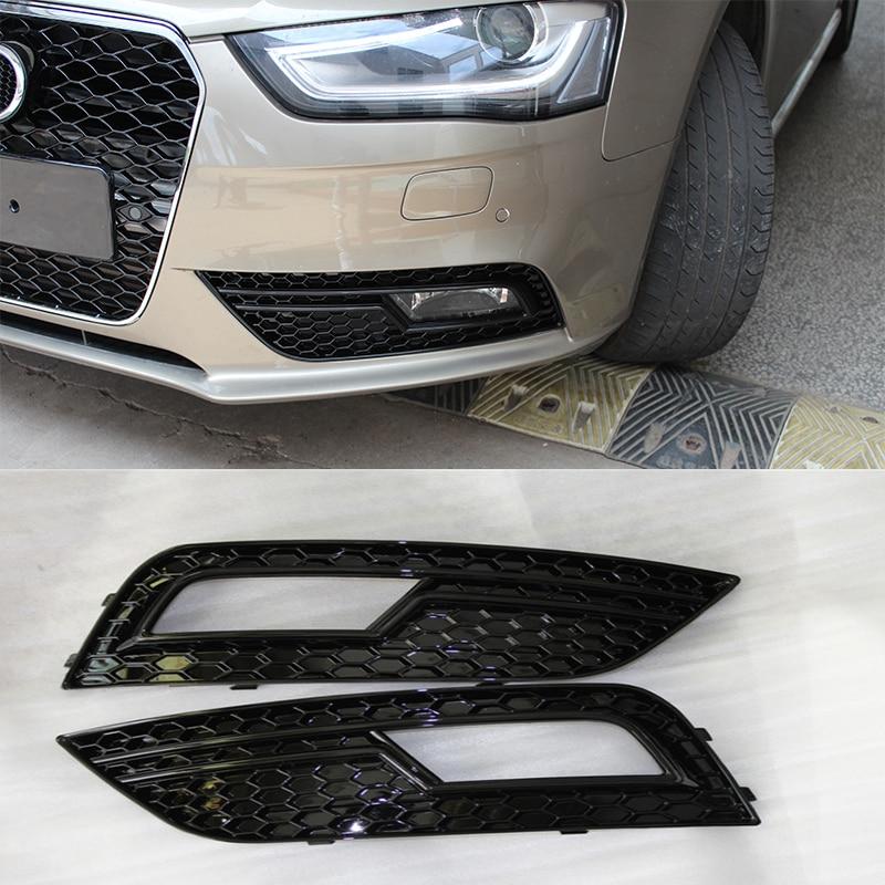 A4 B9 Black Front Fog Lamp Cover Grill Grille For Audi A4 b9 Standard Bumper 2013-2015 цены онлайн