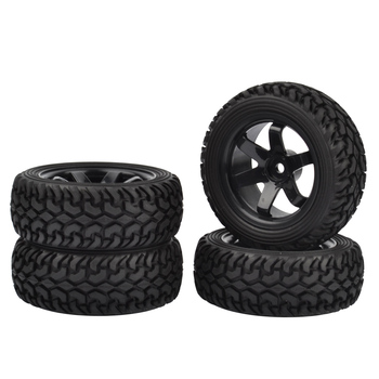 4PCS 1/10 High Performance RC Rally Car Grain Rubber tires and Wheels for 1:10 RC On Road Car Traxxas Tamiya HSP HPI Kyosho 4pcs 1 8 rc car rubber tyres plastic wheels for redcat team losi vrx hpi kyosho hsp carson hobao 1 8 buggy on road car