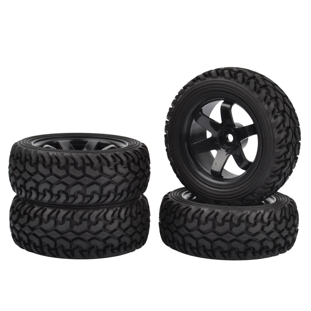 4PCS High Performance RC Rally Car Grain Rubber tires and Wheels for 1:10 RC On Road Car ...