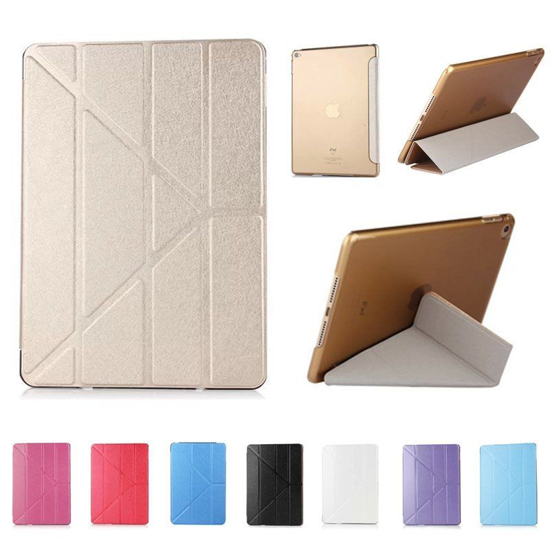 Slim Leather Transformer Front Smart Cover Case and PC Crystal Clear Hard Back Case for ipad mini 1/2/3